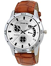 Golden Bell Original Chronograph Look Silver Dial Tan Brown Strap Analog Wrist Watch For Men - GB-528