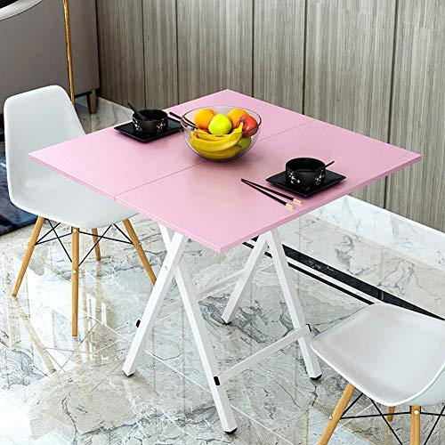 YY&L Multifunktionaler Tragbarer Faltender Quadratischer Tisch - Im Freienschlafsaal Nach Hause Wohnzimmerküche Kleiner Faltender Tisch - Hölzerne Farbe / 60Cm,Pink