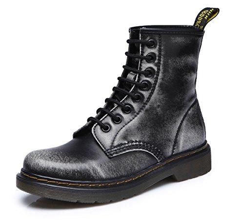 uBeauty Damen Martin Stiefel Flache Boots Klassischer Stiefeletten Schnüren Freizeitschuhe Grau 39 EU