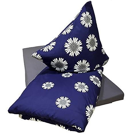 Leonado Vicenti 4 teilige Microfaser Bettwäsche 135x200 klassisch modern Blume blau weiß mit Reißverschluss