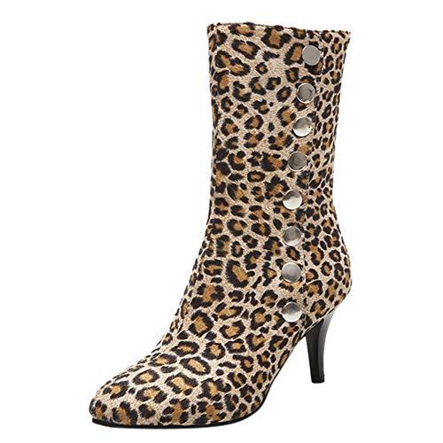 MYMYG Damen Kurze Chelsea Boots Pumps Stiletto Stiefel Stiefeletten mit hohem Absatz Absatzknöpfen Leopardenmuster Kurze Plüschstiefel...