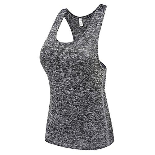DD UP - Débardeur Sport Femme - T shirt et tops de sport - Lot de 3 Vest Tank Tops Red-Gray-Blue