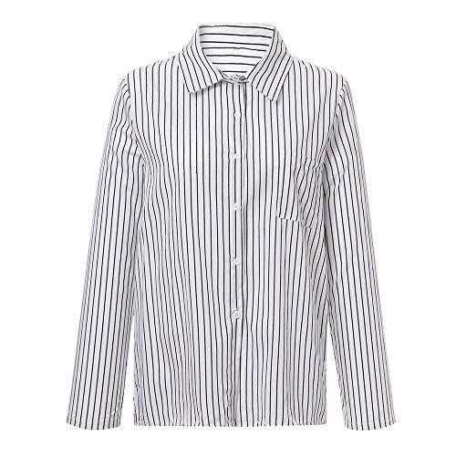 Damen T Shirt, CixNy Bluse Damen Kurzarm Sommer Knopf Gestreift Lässig Lose Lange Ärmel Oberteil Tops (Weiß, ()