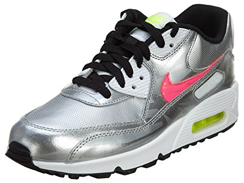 Nike Air Max 1 Gs 555766 Unisex-Kinder Low-Top Sneaker MTLLC SLVR/HYPR PNK-WHITE-BLK
