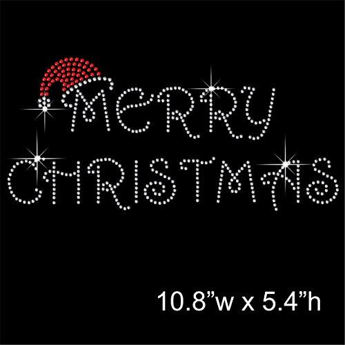 Merry Christmas Hotfix Strass mit Eisen auf übertragen Motiv Aufnäher (Weihnachten Eisen Auf übertragung)