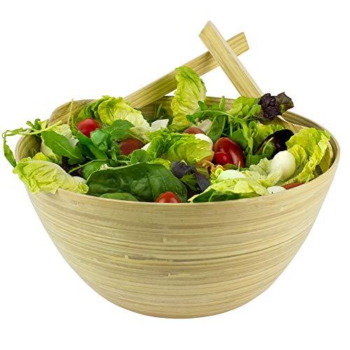 OrganicMe Salatschüssel aus Bambus mit Servierteile (Wunder-schüssel Groß)