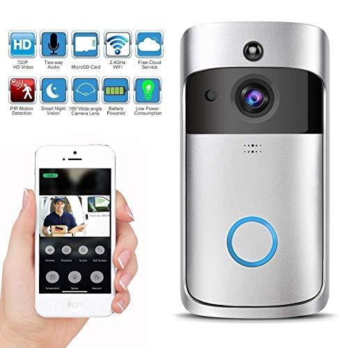 KuDiff Video Doorbell with LED Ring WiFi Smart Sonnette Vidéo sans Fil 720p HD Caméra en Temps Réel de Vision Nocturne en Mode PIR Détection de Mouvement pour iOS Phone Audio Bidirectionnelless