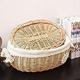 yunt filata a mano cestino per il pane Wicker Basket rimovibile e lavabile cestino di vimini con coperchio 28*22*13cm