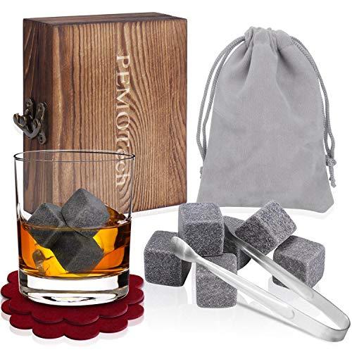 PEMOTech Pierres Whisky[Pinces en Acier et 2 sous-Verres],9 Ensemble des Roches de Boissons en Granit glaçon, Emballé dans Un Ensemble de Cadeaux en Bois Exclusif-Le Cadeau Parfait pour Les Hommes