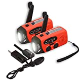 2 er-Set The Friendly Swede Handkurbel Camping Radio mit Taschenlampe und Feuerstahl, Batterieloses Notfallradio mit Solar und Dynamo-Betrieb, Smartphone-Ladefunktion, FM/AM (rot)