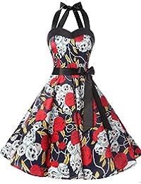Dresstells Halter 50s Rockabilly polka dots dots dress petticoat pleated skirt