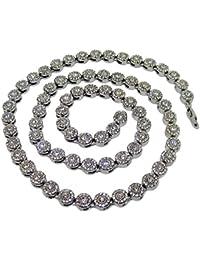 Collar bañado en plata, brillante, estilo hip hop, con piedras brillantes en forma de flores.
