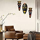Terracotta Wall Hanging Multicolour Hawaian Mask Combo-40 Cms.-3 Pcs - Handcrafted Decorative Mask For Wall Decor, Room Decor And Gifts