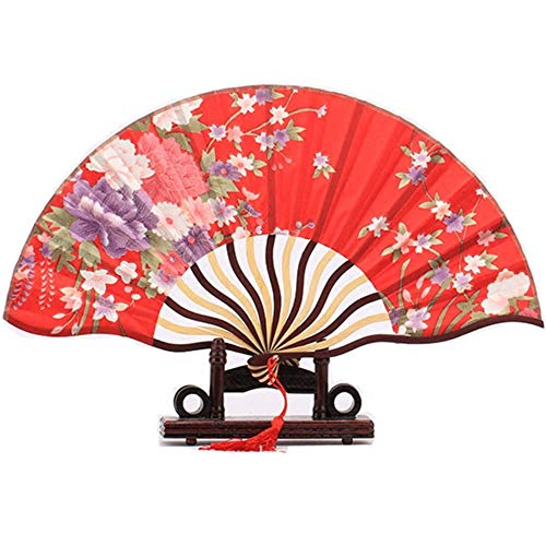 WANGYUJIN Faltfächer Folding Fan Decorated Folding Hand Fan Portable Floral Japanese Pocket Fan Chinese Bamboo Silk Fabric Fan Red with Flower - Folding Red Japanese - Fan