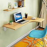 Willesego Wand-Tisch Tisch Ecke L-förmige Computer Schreibtisch Esstisch Tisch gegen die Wand Study Desk zusammenklappbar (Farbe: Teakholz Farbe, Größe: 110 * 60cm)