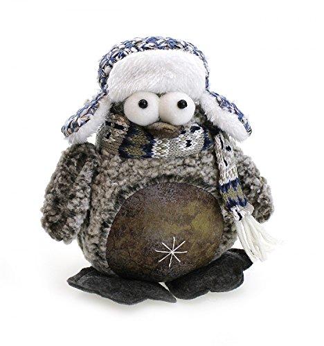 Deko Figur Stofftier Tier Pinguin Mit Schal Pudelmütze 16 cm Groß, Textil Stoff Blau Braun Weiß,...