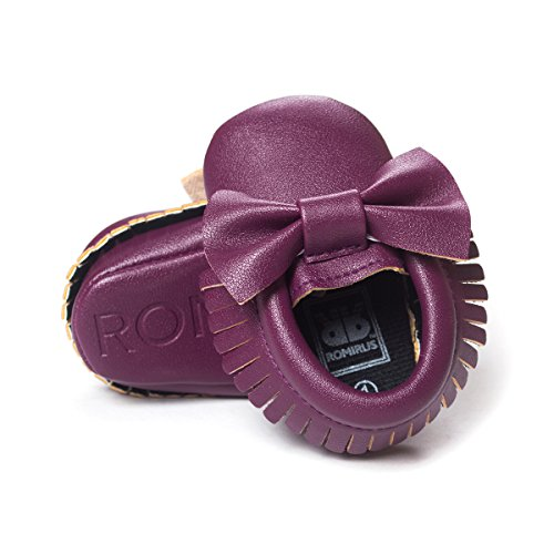 ZOEREA Super weich Leder Anti-Rutsch Lauflernschuhe Krabbelschuhe Babyschuhe Kinderschuhe Krippe Schuhe für Laufanfänger Baby Mädchen Jungen 0-18 Monate Violett