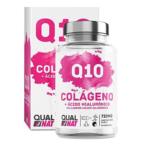 Colageno Ácido Hialurónico + Coencima Q10 | Vitamina C | Colágeno Marino | Perfecto para Mejorar Piel, Cabello y Articulaciones | 90 Cápsulas | Qualnat
