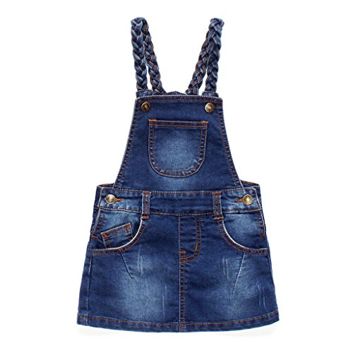 JiAym Baby-Mädchen Rock Jeans Latzrock Denim-Kleid Latzkleid Mini Jeanskleid mit Hosenträger 12-18 Monate