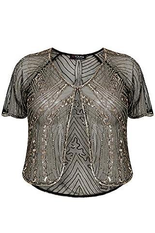 Yoursclothing Plus Size Womens Gold Embellished Sequin Shrug With Curved Hem Size 18 Black