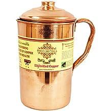 IndianArtVilla Plain Pure Copper Jug Pitcher, For Drinking water, Health Benefits, 1.6 Liters