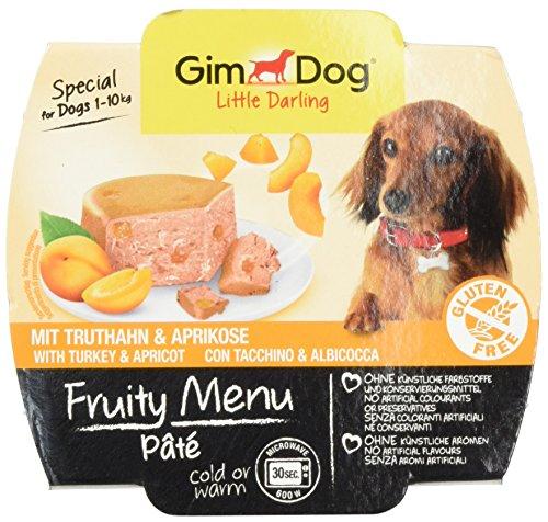 GimDog Futter, Little Darling Fruity Menu Paté mit Truthahn und Aprikose, Für Hunde bis 10 kg, Glutenfrei, Hundefutter ohne künstliche Aromen und Farbstoffe, Hundenassfutter 800g (8 x 100g) Design Pate