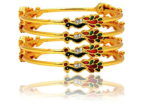 Mansiyaorange Traditional Fancy Designer Casual Party Wedding Wear Sleek Original One Gram Gold Peacock Hand Meena Work Golden Bangles For Women  available at amazon for Rs.284