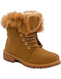 Toocool - Stivali donna scarponcini scarpe stringati pelliccia anfibi caldi  nuovi W8120 e50fdb705a8