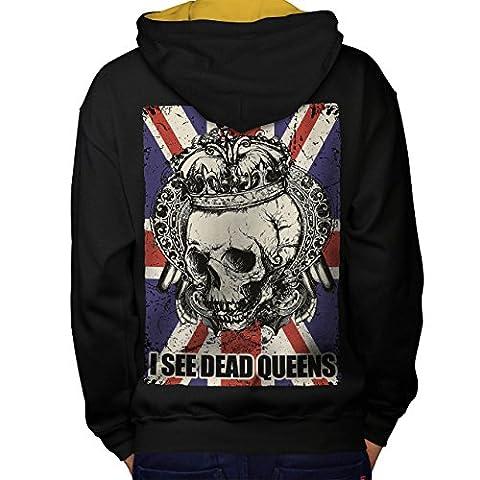 Schädel Tot Königin Metall Vereinigtes Königreich Skelett Vereinigtes Königreich Men M Kontrast Kapuzenpullover Zurück | Wellcoda