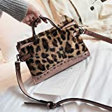 XIBAOBAO Frauen Shoulder Bag Fashion Vintage Leopardenmuster Messenger Bag Handtasche Damen Freizeit Crossbody Boston Bag Pink