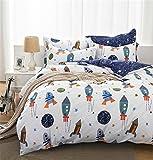 Unimall Wende-Bettwäsche Garnitur 100% Baumwollen Bettbezug 200x220cm Size mit Bettlaken mit Rakete und Planeten Sternen Muster
