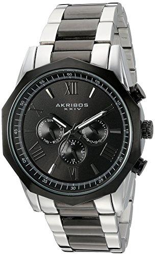 Akribos XXIV Hommes de Montre à Quartz avec Affichage analogique et Bracelet en Acier Inoxydable Noir Cadran Noir ak940ttb