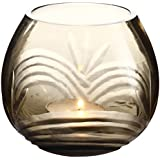 Anasa Decor Decorative Glass Votive Tealight Candle Holder (5.08 Cm X 5.08 Cm X 8.89 Cm, Transparent And Black)