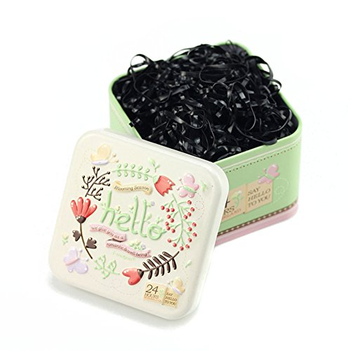 Schwarzes Mini-pferdeschwanz-halter (1Box (700pcs) Einweg Haar Pferdeschwanz Halter Elastic Hair Bands Haargummi Gummibänder mit süßen Blechdose für Baby Kinder Mädchen)