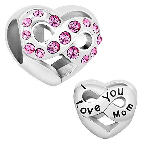 """Uniqueen Charm-Anhänger in Herzform, mit Aufschrift""""I Love You"""", für Charm-Armband"""