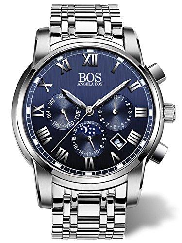 Angela bos hombres reloj de pulsera de cuarzo de banda de acero inoxidable banda azul 8006