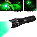 VASTFIRE Bright Green Flashlight 350 Yard Zoomable Hunting Flashlight CREE LED Light for Hog Pig Varmint Predator Deer Coyote Night Hunting