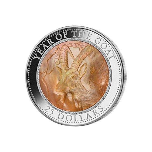 Jahr der Ziege Perlmutt $25 Silber Münze 5oz - Cook Inseln 2015 (Silber Münzen 5 Oz)