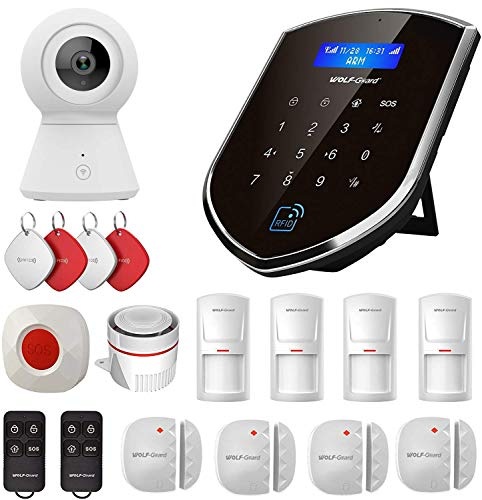 Wolf-Guard WM2GR FAI DA TE Smart Home Sistema di allarme di sicurezza con telecamera, sensore finestra porta, rilevatore di movimento, pulsante SOS, RFID, rete doppia 2G / GSM