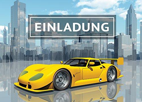 12 Einladungskarten Kindergeburtstag Jungen Rennauto Rennwagen Sportwagen Jungs Geburtstag Geburtstagseinladungen Einladungen Kartenset (Rennwagen-geburtstag)
