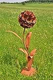 DEWOGA Deko Pusteblume mit 1 Blüte H130cm Edelrost Rost Metall Garten Neu