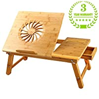 Large Size Laptop Desk NNEWVANTE Bamboo Bed Tray Adjustable Foldable Lap Desk Bed Serving w
