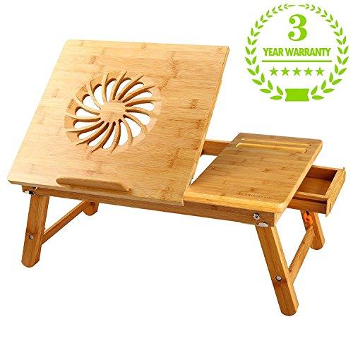 Nnewvante Große Größe Laptoptisch Betttablett Betttisch einstellbar Bambus faltbar Frühstück Rechts- und Linkshänder Bettschreibtisch kippbar mit Schublade bis zu 18 Zoll