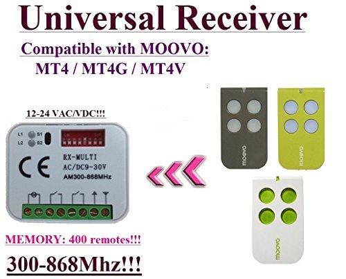 Universelle récepteur Compatibile avec MOOVO MT4, MOOVO MT4G, MOOVO MT4V 433,92Mhz Télécommande. 2 canaux rolling code 300-868MHz. Rolling / Fixed code 12 - 24 VAC/DC receiver.