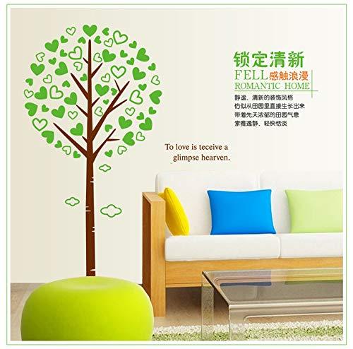 wassaw Abnehmbare Wand Aufkleber Grünen Liebe Baum Aufkleber Schlafzimmer Wohnzimmer Kinderzimmer Kreativen Aufkleber Einfachen Wasserdichten PVC-sportlandschaft Plant -