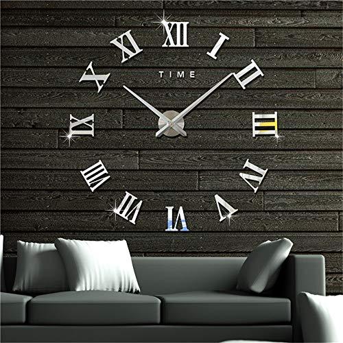 Artensky Uhren Wanduhr Große Römische Zahlen Dekoration Wand Wohnzimmer Home Aufkleber (Silber)