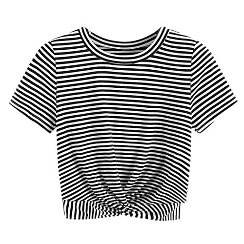 Damen T Shirt, CixNy Schwarz-weiß Gestreift Tape Panel Zuschneiden Einfarbig Bluse Damen Loose Slim Fit Verknotet Kurzarm Sommer Oberteil Tops -