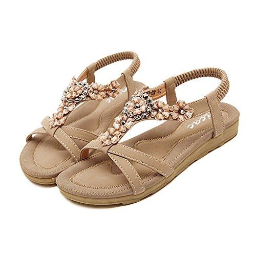Zicac Damen Sandalen Freizeit Blumen-Stil Sandalen Sommer Schuhe