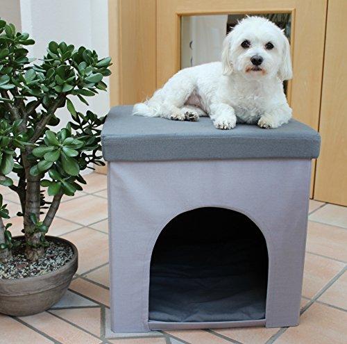 Hundehöhle und Hocker grau, Tierhöhle, Sitzhocker - 4