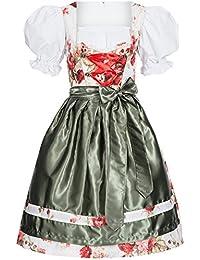 Dirndl Set 3 tlg. Trachtenkleid Lotta Blümchenstoff Rosen rot, Marke Gaudi-Leathers